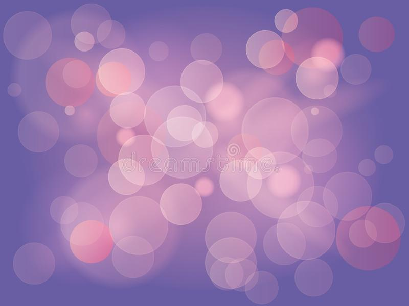 Abstract background with bokeh effect. Blurred defocused lights in light purple and pink colors. Magic lights with soft. Light background illustration vector illustration