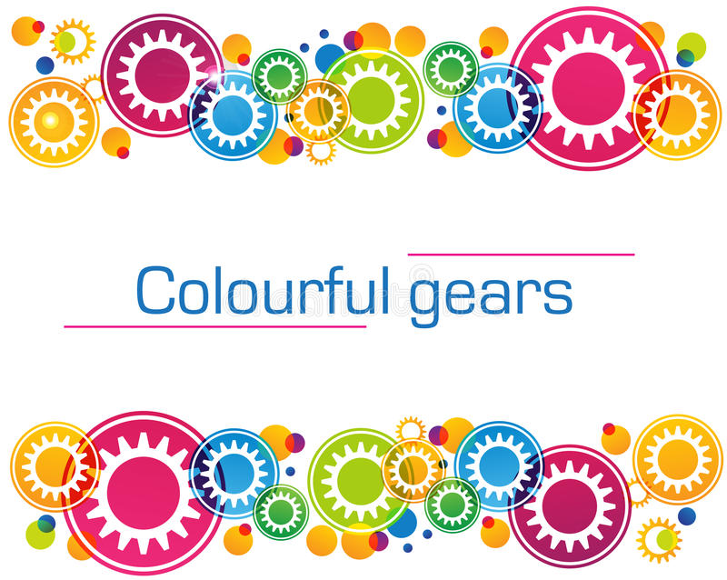 Abstract background of bright colored gears and stock illustration
