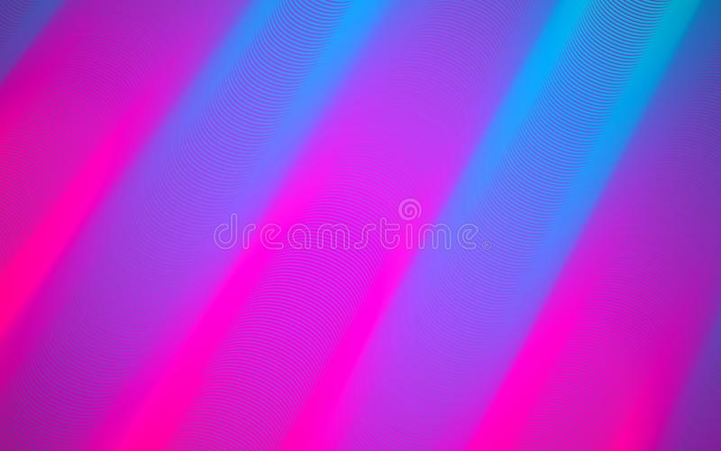 Abstract background. Bright pink and blue lines. Modern style composition. Color glowing pipes. Minimalistic design stock illustration