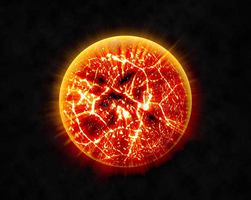 Abstract background of burning planet or sun. Apocalypse. Exploding planet royalty free illustration