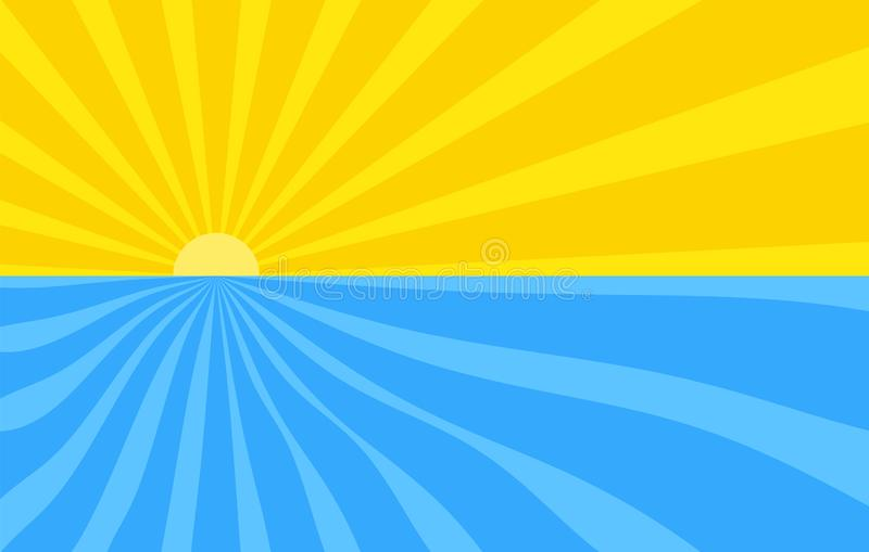 Abstract background with cartoon rays of yellow and blue color. Sun and ocean, summer template for your projects. The cartoon royalty free illustration