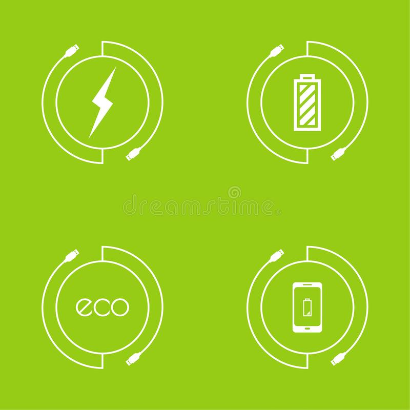Abstract background with charge. Mobile phones. usb cable is connected to the smartphone. The concept power charging. Vector. Renewable green energy Eco stock illustration