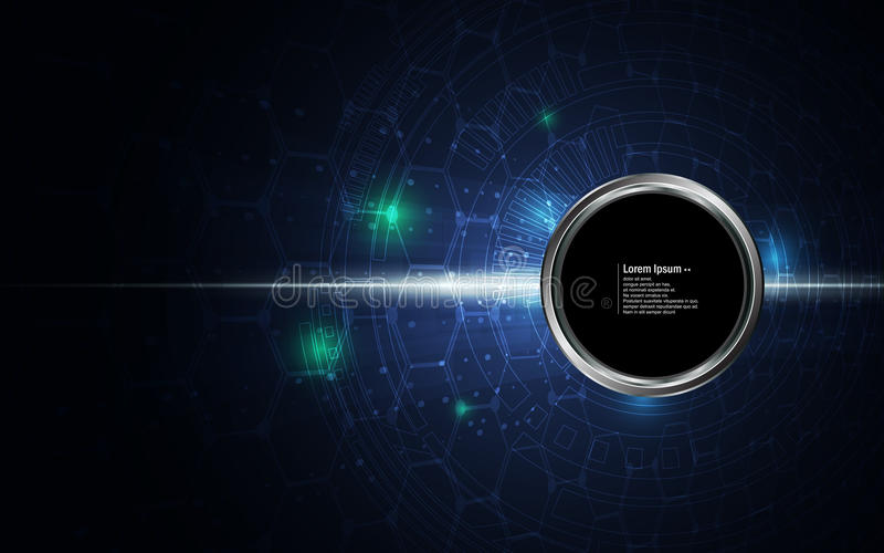 Abstract background circle button on digital tech sci fi concept pattern royalty free illustration