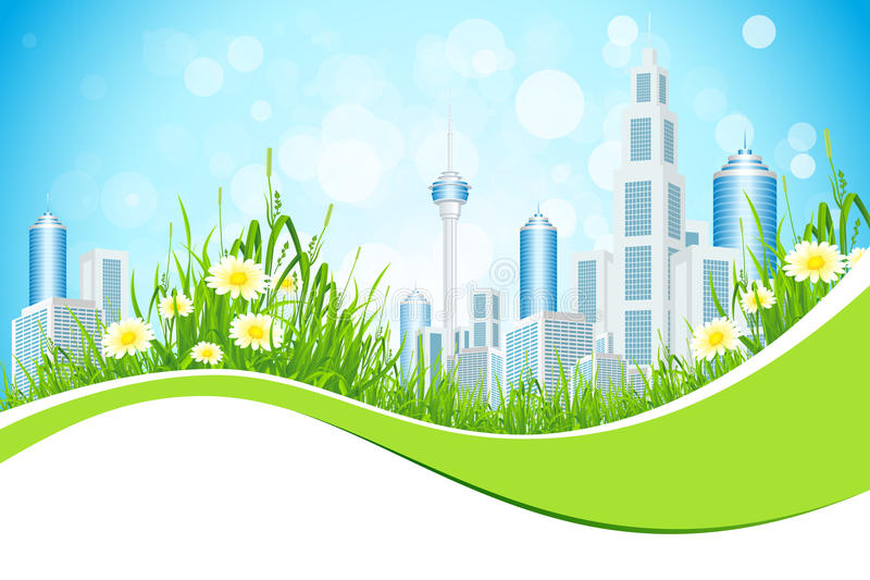 Download Abstract Background With City Line Flowers And Grass Stock Vector - Image: 29299390