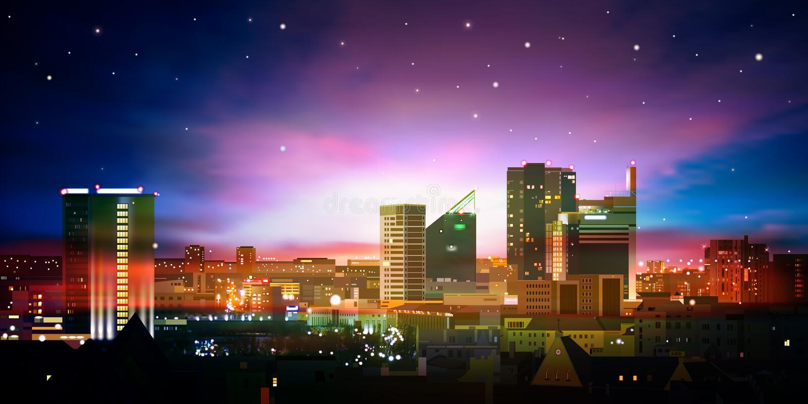 Abstract background with city and sunrise stock illustration