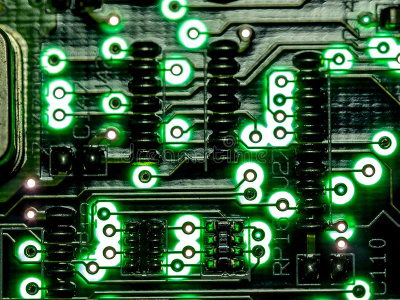 Abstract background,close up green circuit board. Electronic computer hardware technology. Mainboard computer background. Integrated communication processor stock images