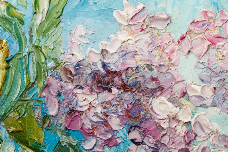 Abstract background . Closeup fragment of the picture. Painting oil on canvas - Bouquet of lilac against the sky royalty free stock photo