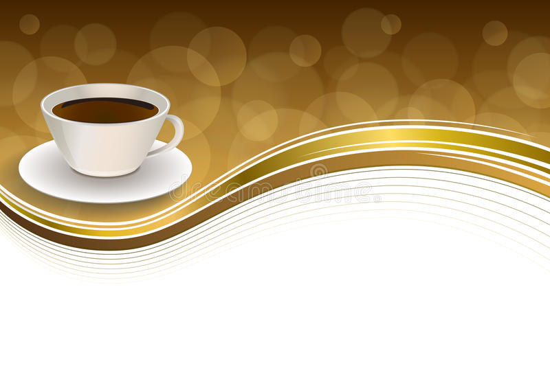 Abstract background coffee cup brown gold ribbon frame illustration vector illustration