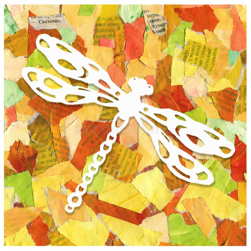 Abstract background collage of scraps of paper with the image of a dragonfly. Design of prints, packages, patterns, wrappers, royalty free stock photography
