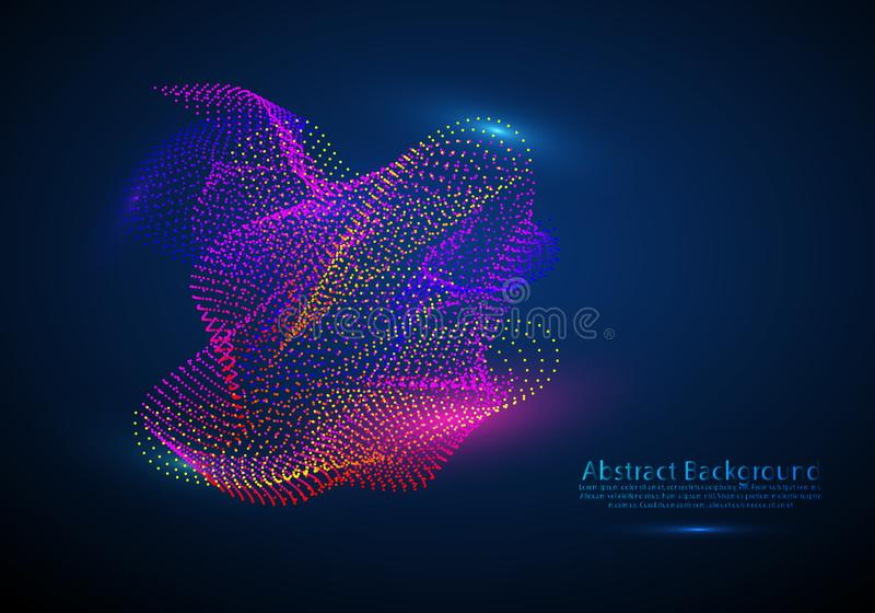 Abstract background with a colored dynamic waves, lines and particles. Vector illustration stock illustration
