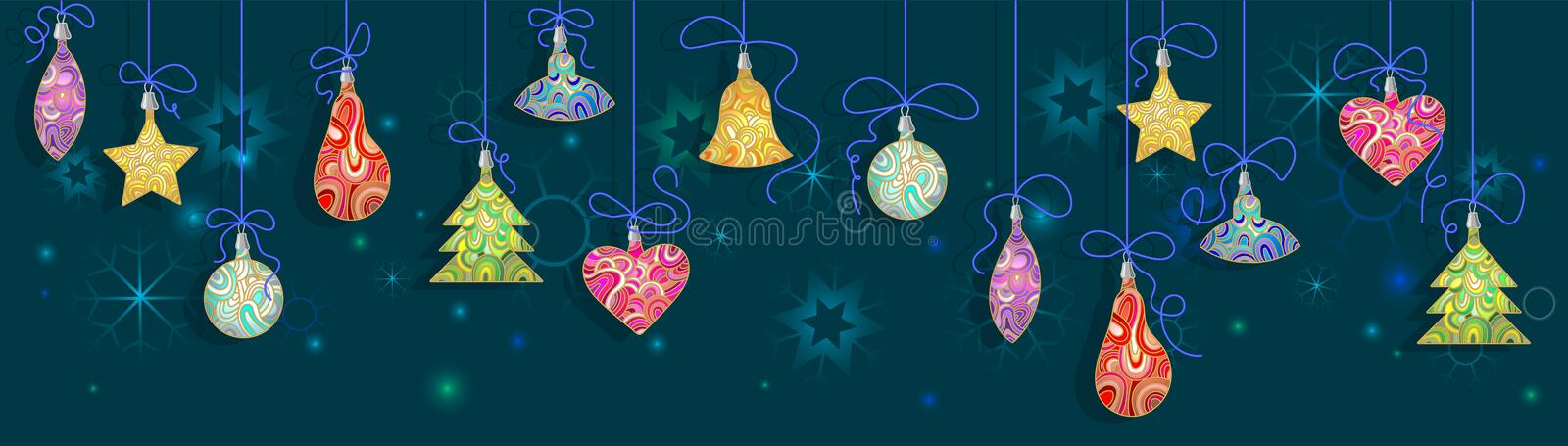 Abstract Background with colorful Christmas decorations. Background with colorful Christmas decorations stock illustration
