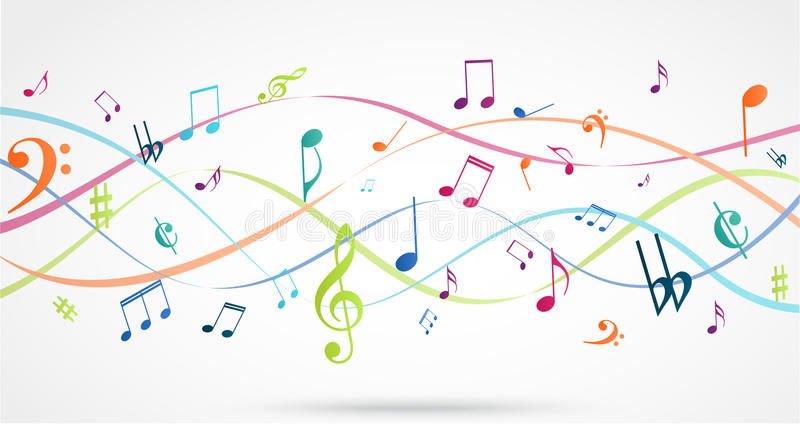 Abstract Background with Colorful Music notes stock illustration