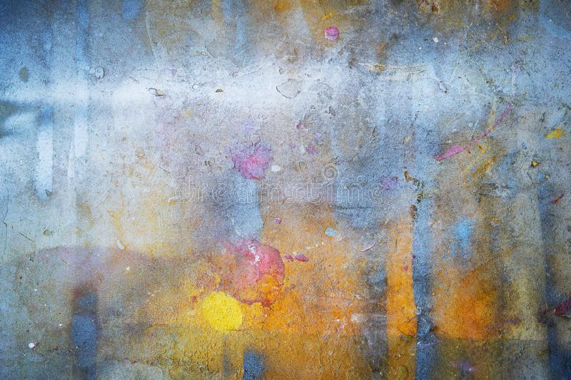 Abstract background from colorful painted on wall with grunge and scratched. Art retro and vintage backdrop royalty free stock image
