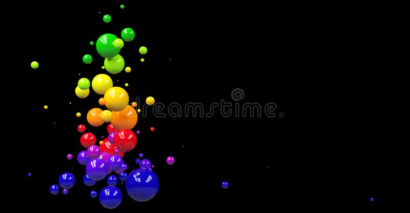 Abstract background with colorful spheres on black stock photography