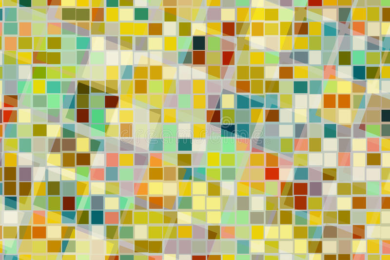 Abstract background of colorful square shape in different size cross and blend together. stock illustration