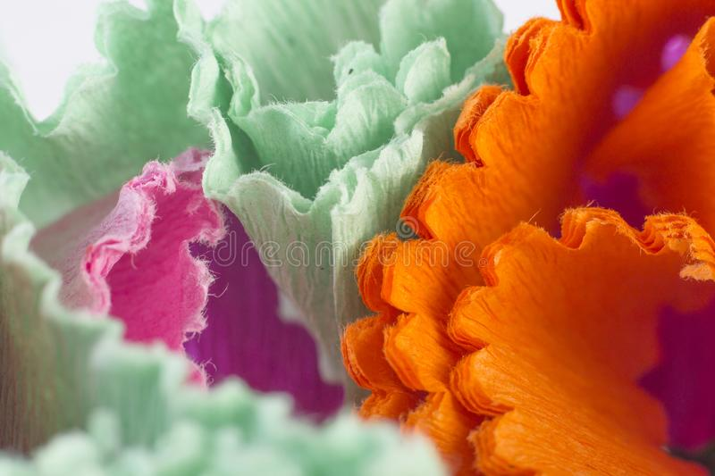 Abstract background with colourful crape paper strip stock photo