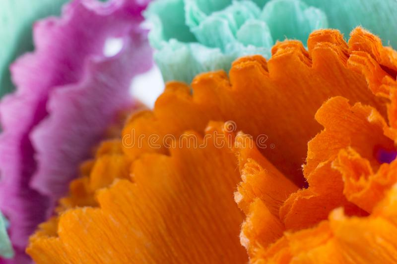 Abstract background with colourful crape paper strip stock photos