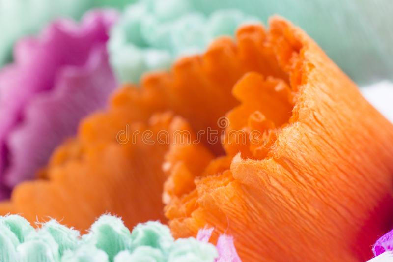 Abstract background with colourful crape paper strip stock photography