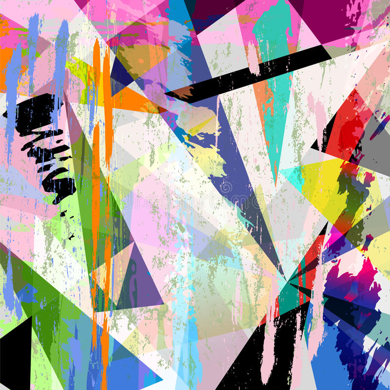 Abstract background composition. With strokes, splashes and triangles vector illustration