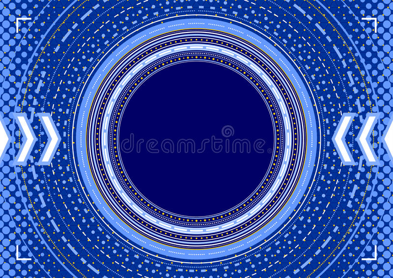 Abstract background - concentric circles, halftone and arrows in stock illustration