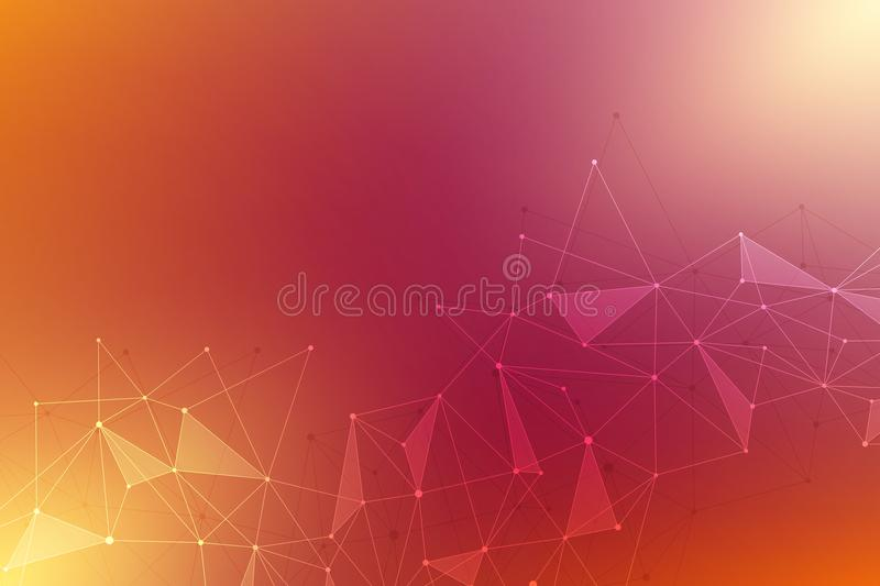Abstract background with connected lines and dots. Geometric vector background for science and digital technology. vector illustration