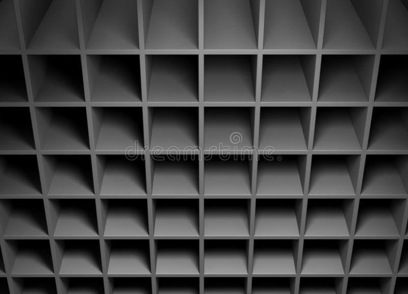 Abstract background consisting of cubic cavities. Abstract background consisting of cubic cavities of gray color. 3D illustration royalty free illustration