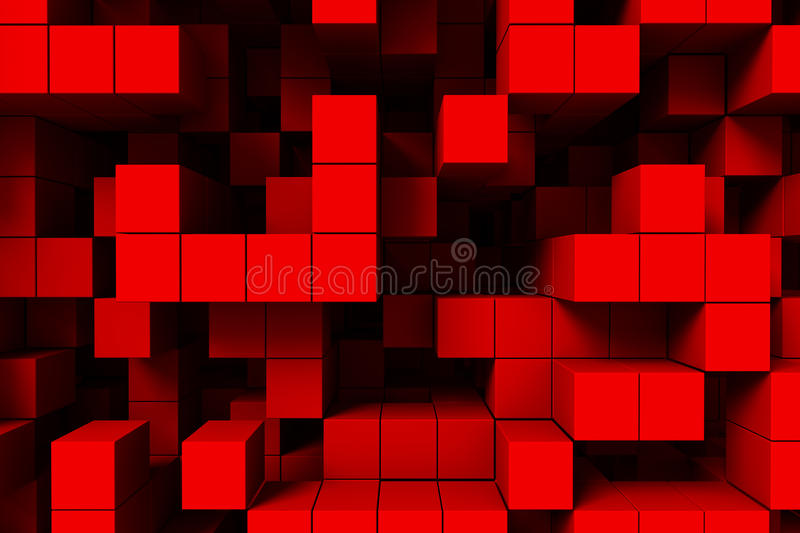 Abstract background red cubes 3d vector illustration