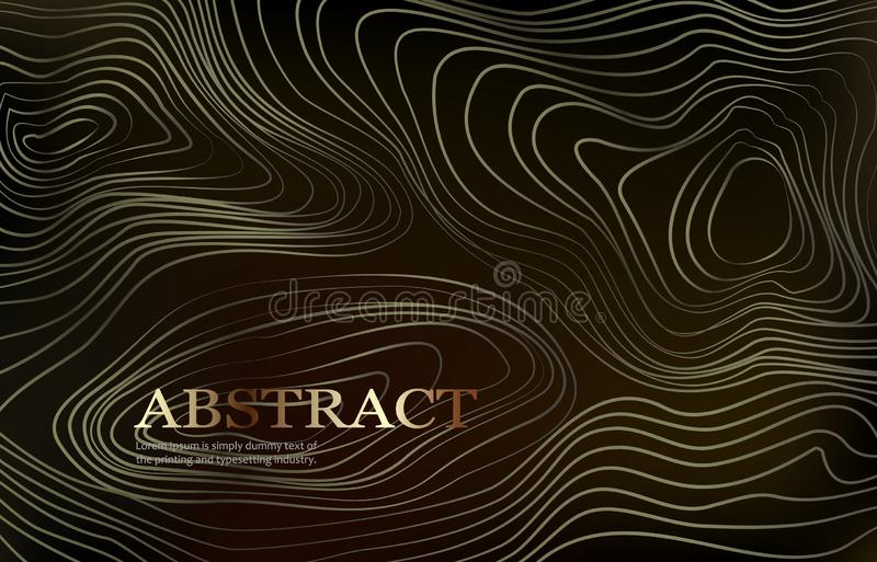 Abstract background with curled linear golden pattern. stock illustration