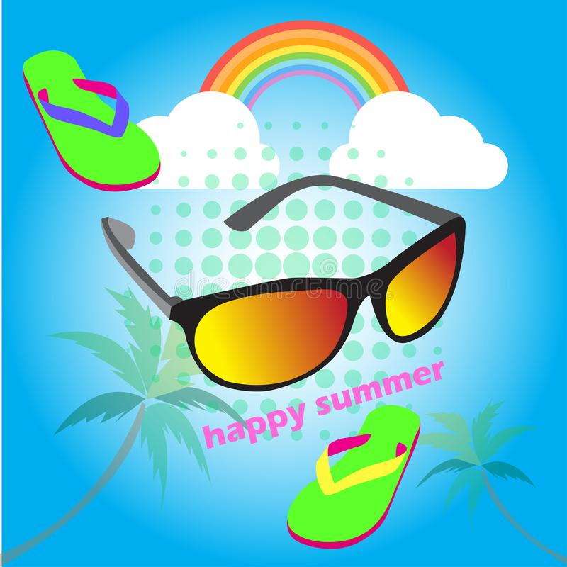 Abstract background cute glasses of summer holiday ,vector illustrations royalty free illustration