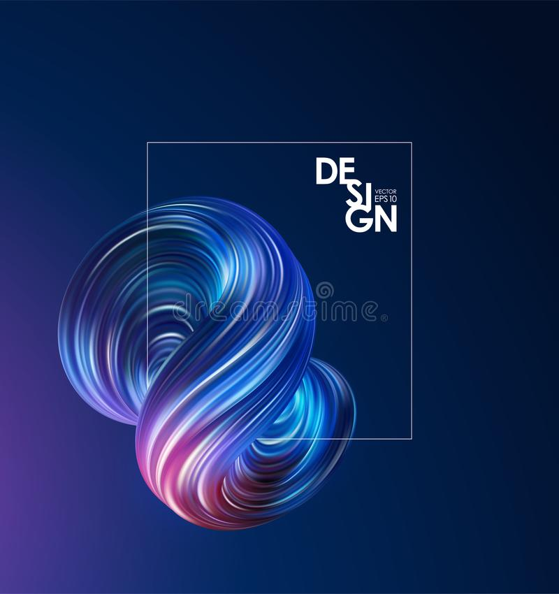 Abstract background with 3d colorful flow liquid shape and frame. Trendy design. Vector illustration: Abstract background with 3d colorful flow liquid shape and stock illustration