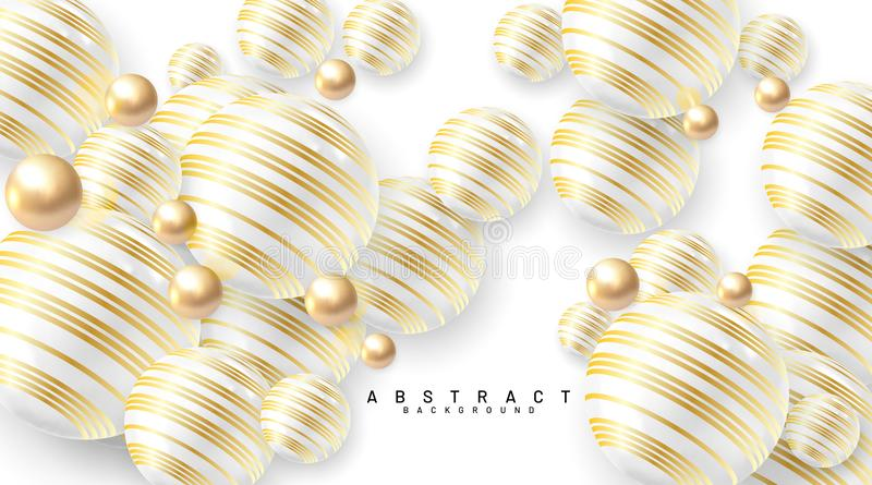 Abstract background with 3d fields. Gold and white bubbles. Vector illustration of a textured sphere with a gold line pattern stock illustration