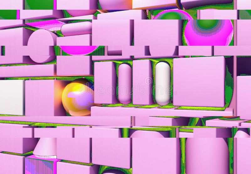 Abstract background with 3d figures and glitch effect. Abstract background with 3d figures and colorful screen glitch effect royalty free illustration