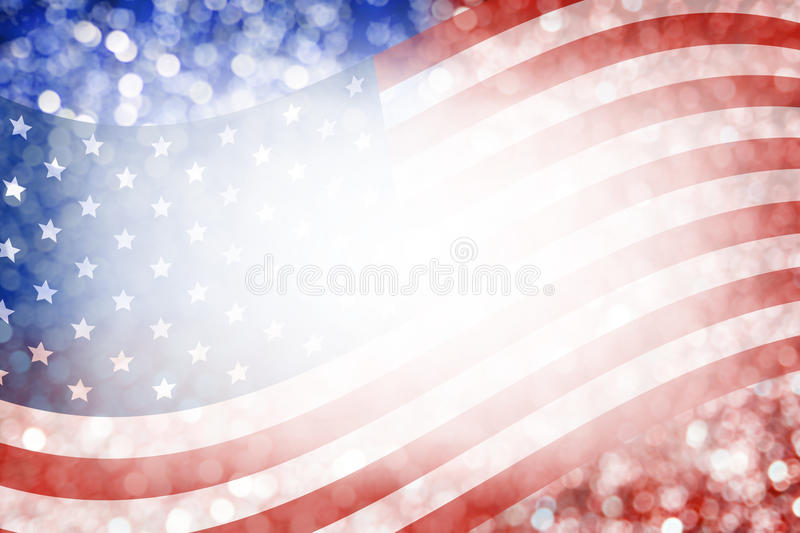 Abstract Background Design Of American Flag And Bokeh For 4 July