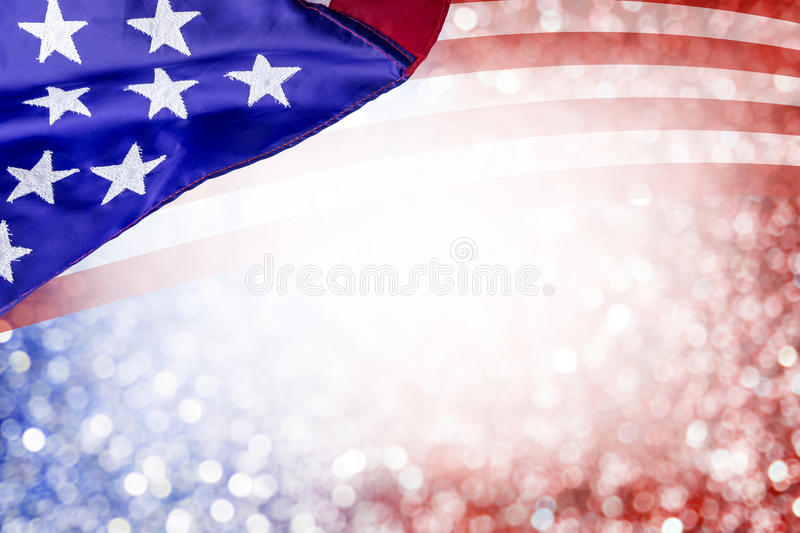 Abstract background design of USA flag and bokeh. For 4 july independence day and other celebration stock image