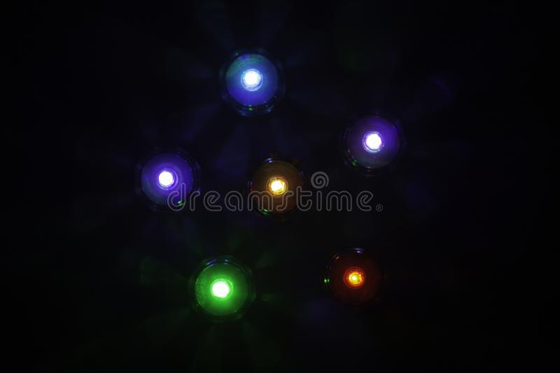 Abstract background of different colorful lights stock photo