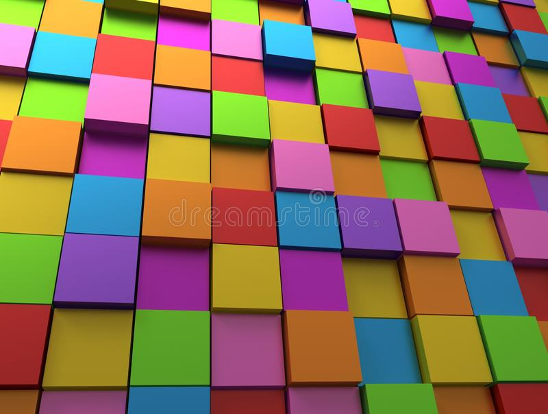 Abstract background - different rainbowcolor cubes vector illustration