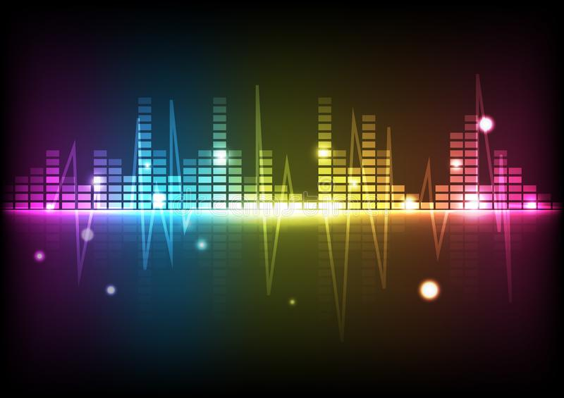 Abstract background digital technology disco spectrum music equalizer lines glowing futuristic vector illustration vector illustration