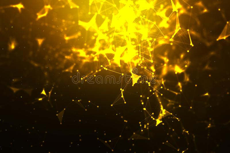Abstract background Dot and connect line for cyber technology futuristic and network connection concept with dark and grain. Processed, science, pattern stock image