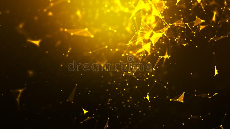 Abstract background Dot and connect line for cyber technology futuristic and network connection concept with dark and grain. Processed wide screen ratio royalty free illustration