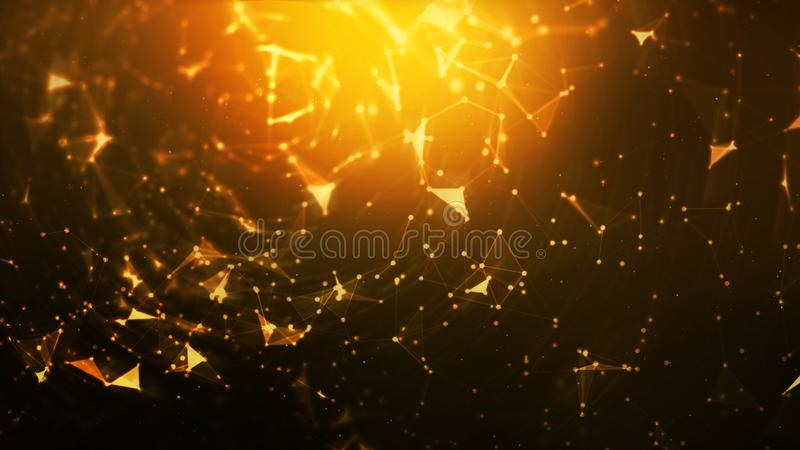 Abstract background Dot and connect line for cyber technology futuristic and network connection concept with dark and grain. Processed wide screen ratio stock illustration