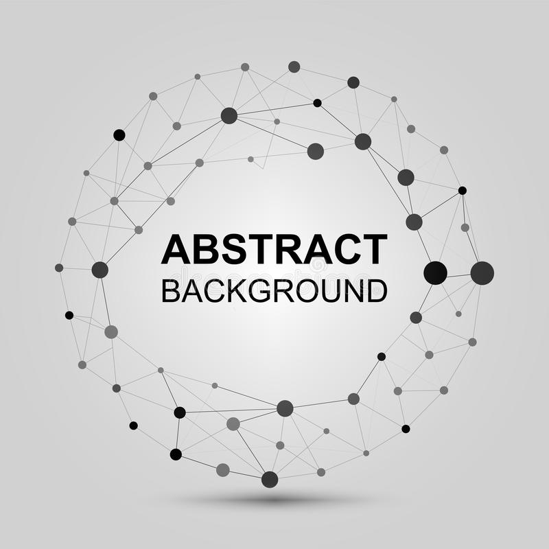 Abstract background with dots and lines. Contemporary black and white stylish asymmetric construction with connected royalty free illustration