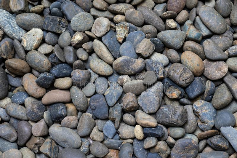 Abstract background with dry round pebble stones stock photo