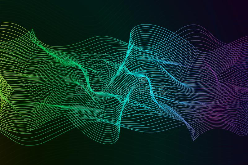 Abstract background with dynamic linear waves. Stylized lines element for design. Colorful abstract waves vector backgroud. Digital frequency track equalizer vector illustration