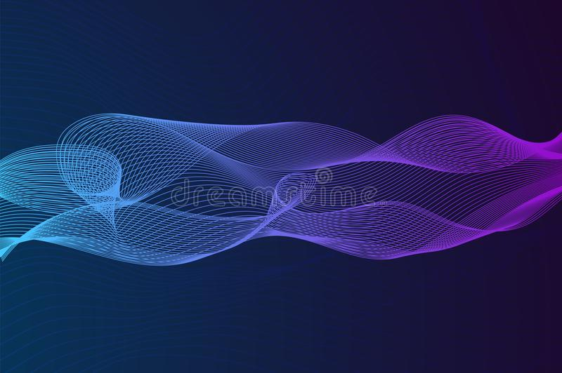Abstract background with dynamic linear waves. Stylized lines element for design. Colorful abstract waves vector backgroud. Digital frequency track equalizer stock illustration