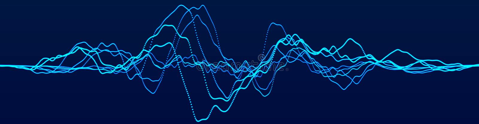 Abstract background with dynamic waves. Big data visualization. Technology equalizer for music. 3d rendering royalty free illustration