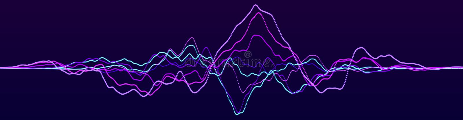 Abstract background with dynamic waves. Sound wave element. Technology equalizer for music. 3d rendering vector illustration