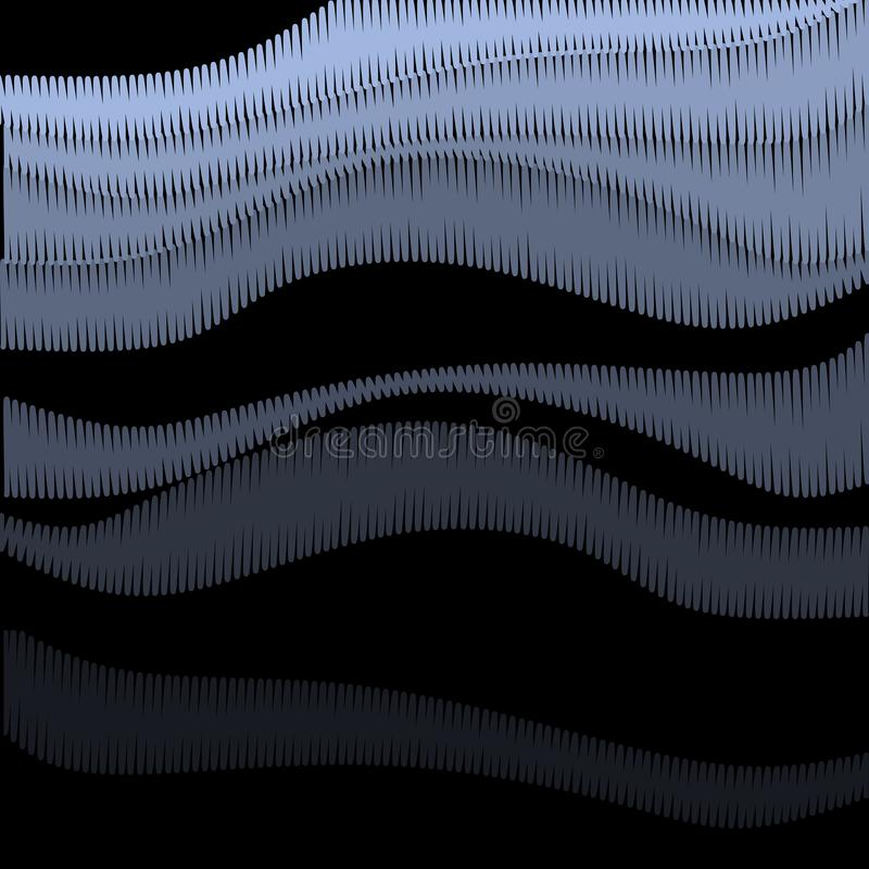 Abstract background with embroidery waves on black backdrop. Vector design vector illustration