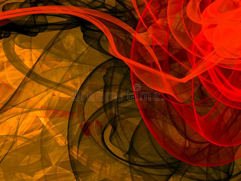 Abstract background with energy weaves, digital illustration, 3d, yellow, brown and red colors, illustration royalty free illustration