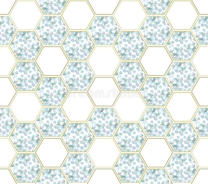 Abstract background with eucalyptus branches and hexagon figures royalty free illustration