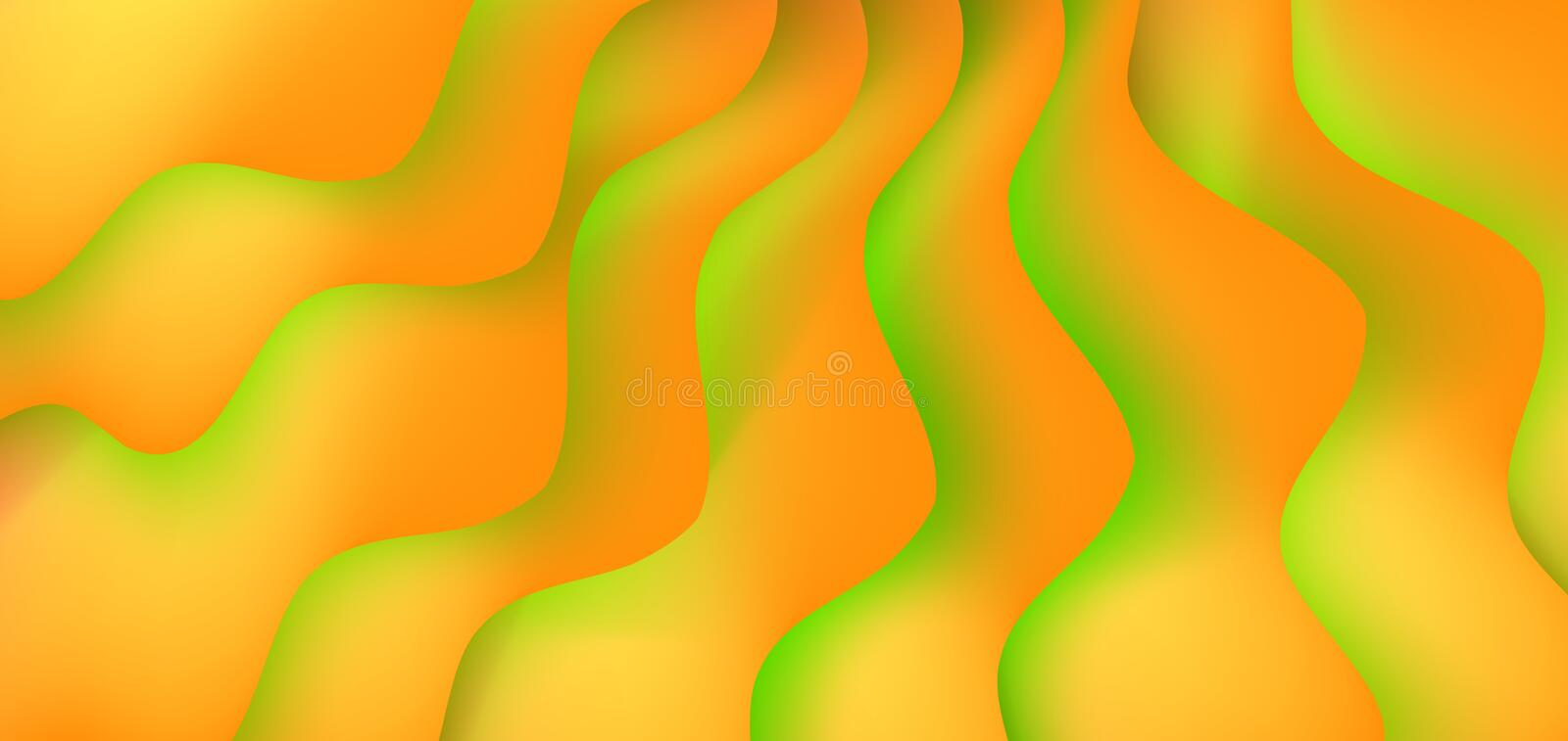 Abstract background with expressive yellow and green wave motion flow and liquid shapes composition. Gradient fluid abstract background template, vector stock illustration